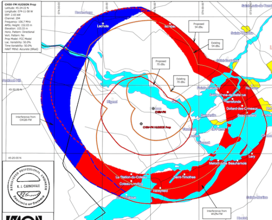 Former (orange line) and new (red line) pattern of CHSV-FM 106.7 Hudson, with interference zones of 106.9 Ottawa (Jump) and 106.7 Burlington, Vt. (The Wizard)