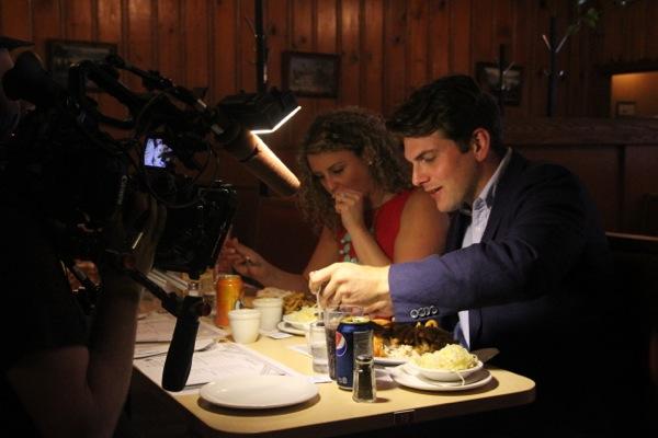 Matt Silver, shooting a segment at Chalet BBQ