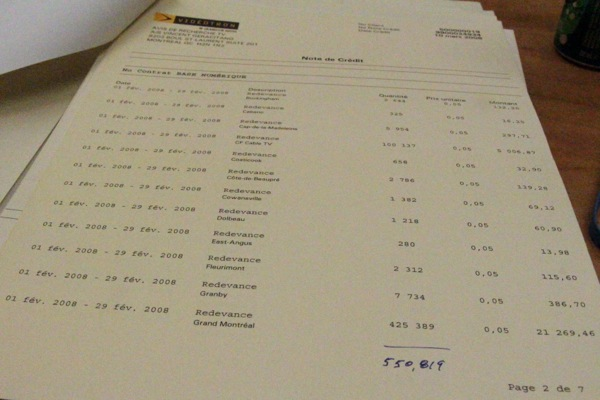 A Videotron bill for ADR in 2008 - ADR had to pay $0.05 per subscriber per month, a bill that reached almost $40,000 a month