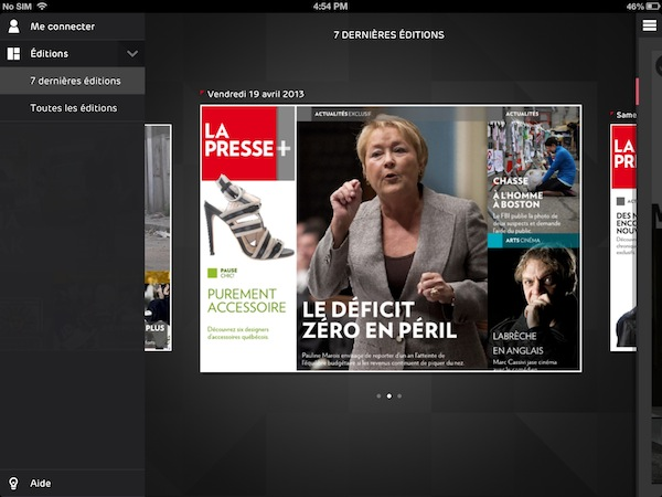 La Presse+ updates only once a day, at around 1:30am