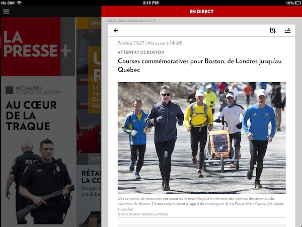 A breaking news story from LaPresse.ca on the app