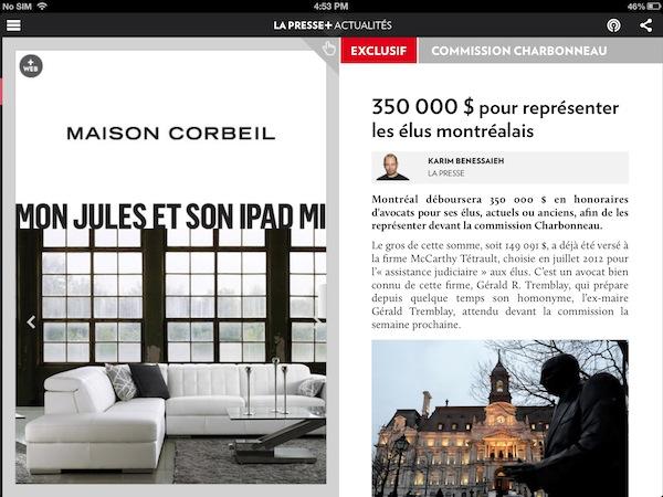 A half-page ad on La Presse+