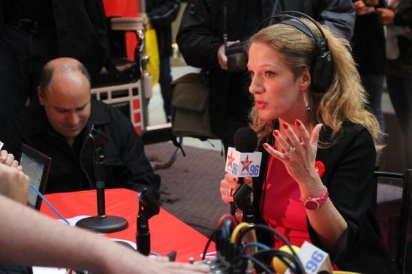 Christine Long gets interviewed by Freeway Frank and Natasha Gargiulo as her boss, CTV News Director Jed Kahane, hangs his head.