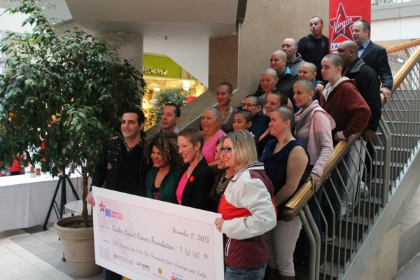 Virgin personalities and participants in the Shave to Save program.