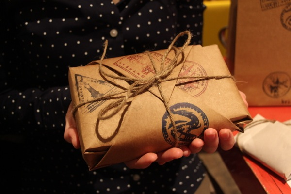 Katie Brioux's stamps are packaged the way you would expect such an artisanal work to be: in brown paper (stamped, of course) and bundled in twine.