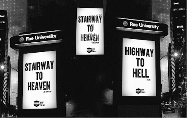 "An outdoor ad shows ""Stairway to Heaven"" or ""Highway to Hell"" depending on viewing angle."
