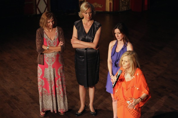 Film protagonist Claire, right, with filmmaker Anne Henderson, left, and other stars of the movie.