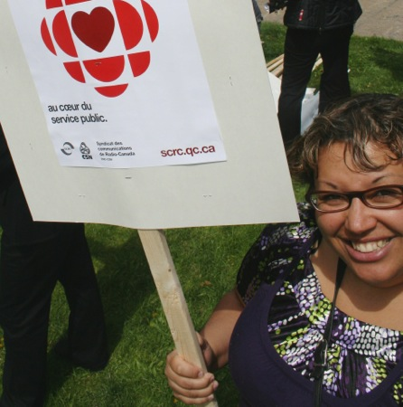 Ange-Aimee Woods at a save-the-CBC union rally in 2009.