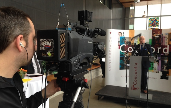 Sportsnet records its president announcing its donation at Concordia University's journalism building on Wednesday.