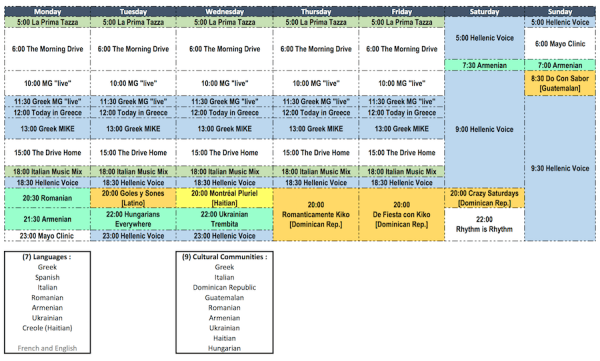 The new schedule for CKDG-FM (click for larger version)