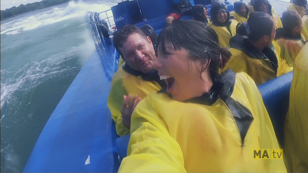 Kim Sullivan jet-boating on the St. Lawrence with participant Michael Saragossi in the first episode of The Checklist.