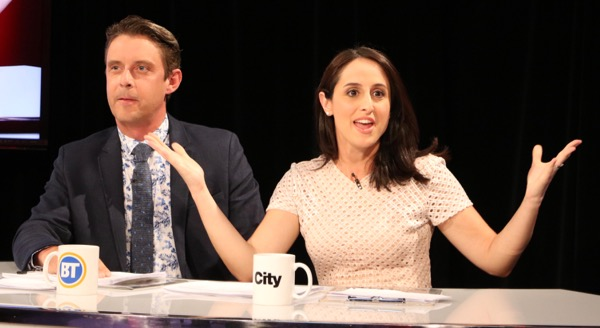 Laura Casella (right, with Derick Fage) is leaving Breakfast Television for Global Montreal's Morning News.