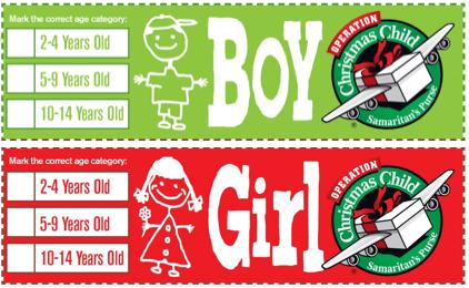boy girl labels for SHOEBOX