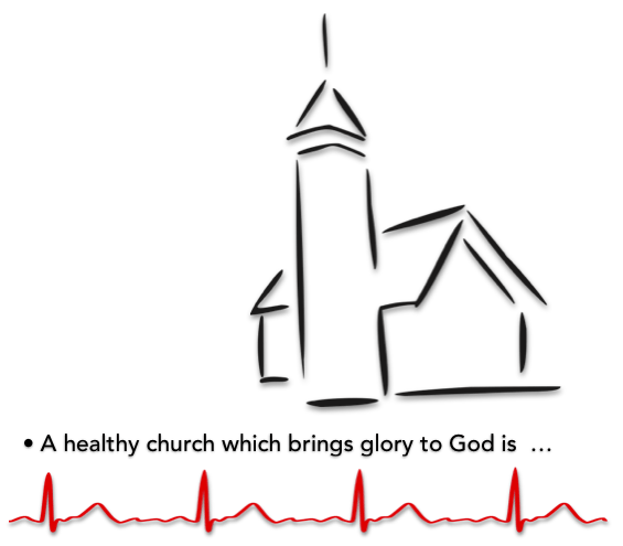 church outline sketch healthy ekg line
