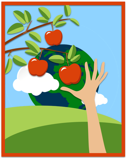 hand reaching for fruit earth in background