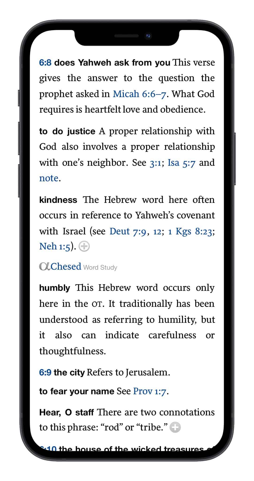 Faithlife Study Bible results for Micah 6:8 in the Logos Bible study app