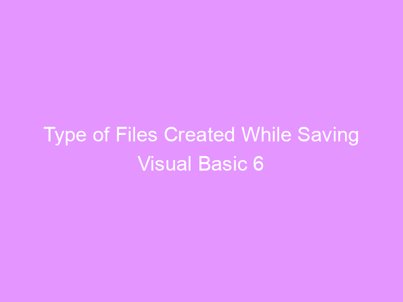 Type of Files Created While Saving Visual Basic 6 Project.