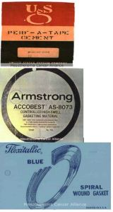 "USG Perf-A-Tape Cement. Armstrong Accobest Gasketing Material, manufactured with asbestos in the mid-1960s. Flexitallic Blue Spiral Wound Gaskets, known for their distinct ""Flexitallic Blue"" color and made from 1912-1980."