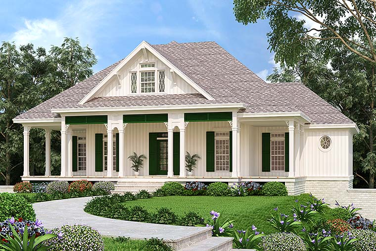 Southern Style 4 Bedroom Cottage Plan With Large Porches - Family