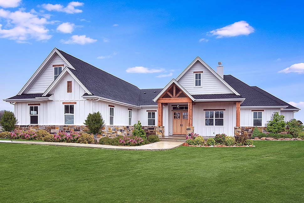 . Modern Craftsman Home Plan With Realistic Interior Renderings