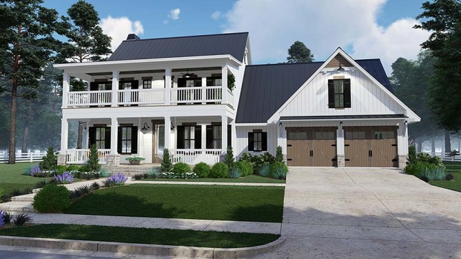Southern Style House Plan With Double Porches