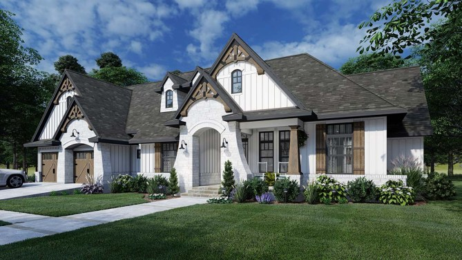 New 4 Bedroom Tuscan Farmhouse Plan With Outdoor Grilling Porch