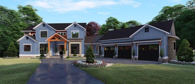 5 Bedroom Farmhouse Plan With Loft and BBQ Porch
