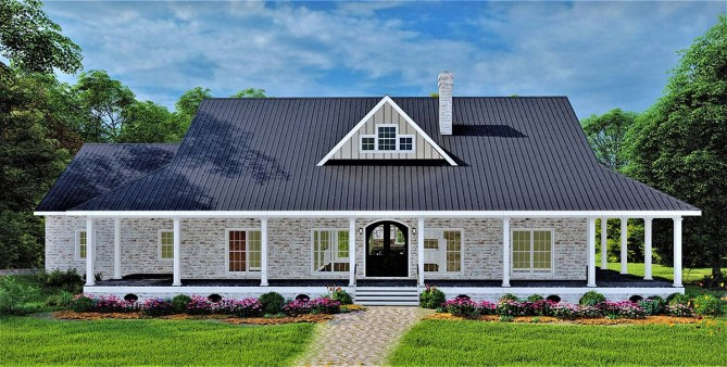 New Country House Plan With Wraparound Porch and Photos
