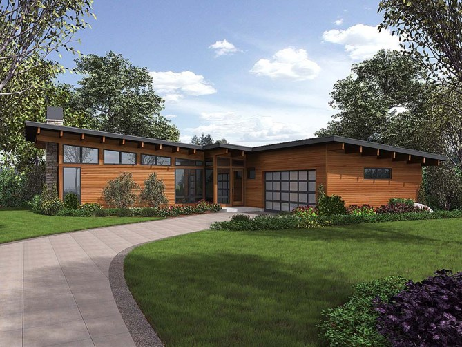 One Story Modern House Plan With 3 Bedrooms, 2.5 Bathrooms