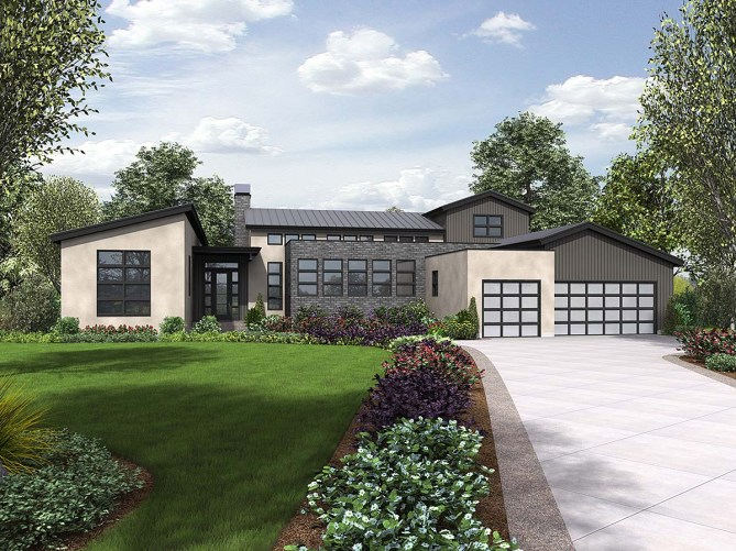 New 3 Bedroom Modern House Plan With Outdoor Kitchen