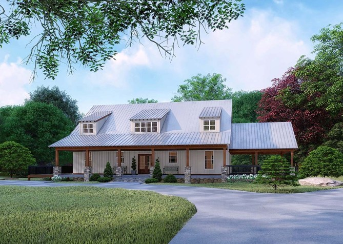 3 Bed 3870 SQ FT Farmhouse Plan With Safe Room & Wraparound Porch