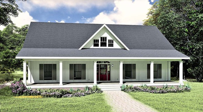 3 Bedroom Southern Style Home Plan With Covered Porch