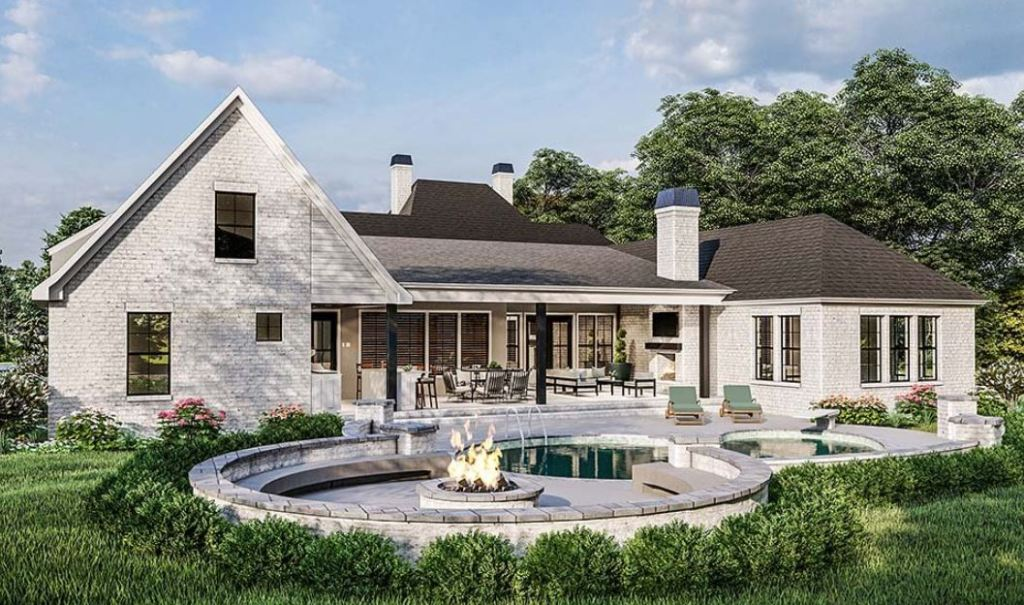 Rear Elevation Acadian Style House Plan