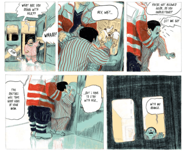 An excerpt from The Thud showing Noel running after his mother into the emergency room