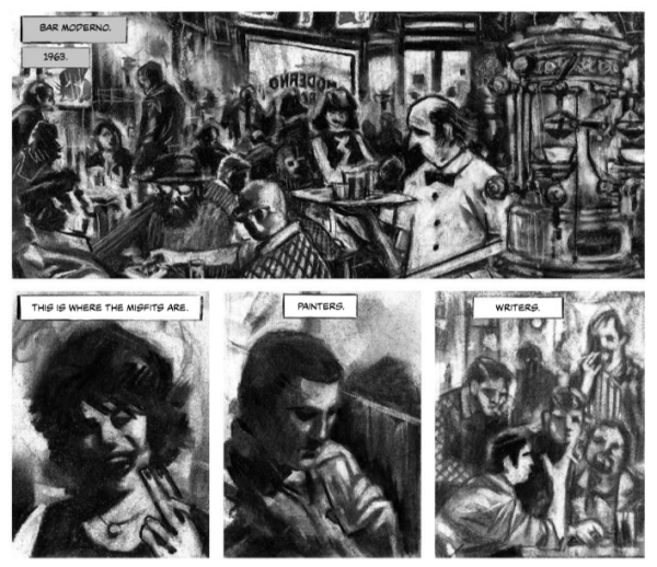 Beatnik Buenos Aires by Diego Arandojo and Facundo Percio comics excerpt showing the interior of the Bar Moderno, full of artists and writers talking and drinking