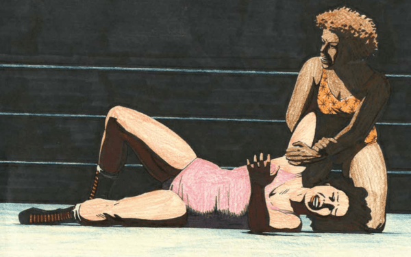 An excerpt from Queen of the Ring by Jaime Hernandez showing two women wrestlers in the ring
