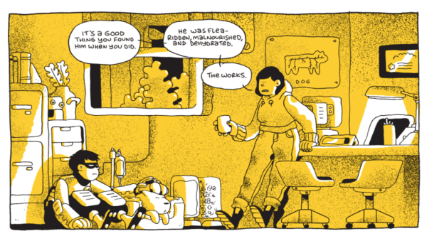 Excerpt from Young Shadow by Ben Sears, showing Young Shadow and Greta tending to a rescued dog