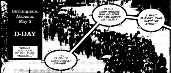 An excerpt from King by Ho Che Anderson, showing a crowd marching during a civil rights march in Birmingham, Alabama