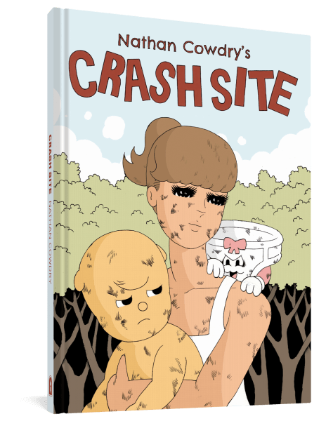 Cover image of Crash Site by Nathan Cowdry, showing Rosie, holding the dog Denton, with the anthropomorphic underwear Pants Dude creeping over her shoulder