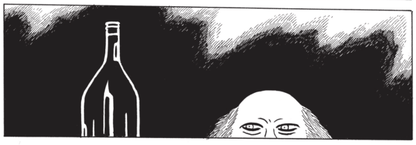 Frame from Hypnotwist/Scarlet by Starlight by Gilbert Hernandez, showing a mysterious, partially bald man peeking over the edge of a counter at a large, unlabeled bottle.