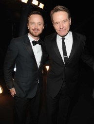 Aaron Paul in Burberry and Bryan Cranston