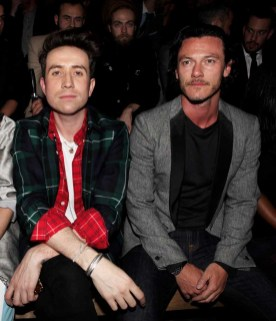 LONDON, ENGLAND - JANUARY 07: Nick Grimshaw (L) and Luke Evans sit in the front row during the Superdry AW14 catwalk event as part of London Collections: Men at The Old Sorting Office on January 7, 2014 in London, England. (Photo by David M. Benett/Getty Images for Superdry) *** Local Caption *** Nick Grimshaw; Luke Evans