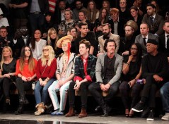 LONDON, ENGLAND - JANUARY 07: (L to R) SuperGroup COO Susanne Given, guest, Aimee Phillips, Ian Chaloner, Nick Grimshaw, Luke Evans, Sofia Davis and Samuel L. Jackson sit in the front row during the Superdry AW14 catwalk event as part of London Collections: Men at The Old Sorting Office on January 7, 2014 in London, England. (Photo by David M. Benett/Getty Images for Superdry) *** Local Caption *** Susanne Given; Aimee Phillips; Ian Chaloner; Nick Grimshaw; Luke Evans; Sofia Davis; Samuel L. Jackson