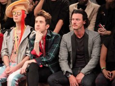 LONDON, ENGLAND - JANUARY 07: (L to R) Ian Chaloner, Nick Grimshaw and Luke Evans sit in the front row during the Superdry AW14 catwalk event as part of London Collections: Men at The Old Sorting Office on January 7, 2014 in London, England. (Photo by David M. Benett/Getty Images for Superdry) *** Local Caption *** Ian Chaloner; Nick Grimshaw; Luke Evans