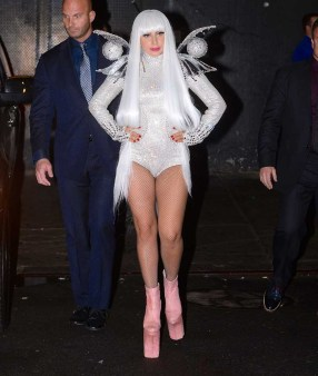 Lady Gaga leaves Roseland Ballroom in a metallic pixie outfit