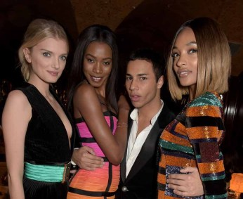 LONDON, ENGLAND - MARCH 16: Lily Donaldson, Sigail Currie, Olivier Rousteing and Jourdan Dunn attend the dinner, hosted by Olivier Rousteing, to mark the opening of Balmain's first London store, at Annabel's on March 16, 2015 in London, England. (Photo by David M. Benett/Getty Images for Balmain) *** Local Caption *** Lily Donaldson; Sigail Currie; Olivier Rousteing; Jourdan Dunn