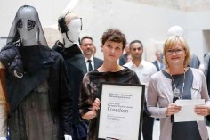 BERLIN, GERMANY - JULY 06: Lilly Bosse and Anja Ulrich during the award ceremony European Fashion Award FASH 2015 by SDBI at Neues Museum Berlin on July 6, 2015 in Berlin, Germany. (Photo by Isa Foltin/Getty Images for FASH2015_SDBI.DE)