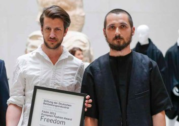 BERLIN, GERMANY - JULY 06: Michael Sontag and Kai Gerhardt during the award ceremony European Fashion Award FASH 2015 by SDBI at Neues Museum Berlin on July 6, 2015 in Berlin, Germany. (Photo by Isa Foltin/Getty Images for FASH2015_SDBI.DE)