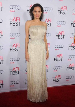 "HOLLYWOOD, CA - NOVEMBER 05: Actress/director Angelina Jolie arrives at the AFI FEST 2015 presented by Audi Opening Night Gala Premiere of Universal Pictures' ""By The Sea"" at TCL Chinese 6 Theatres on November 5, 2015 in Hollywood, California. (Photo by Gregg DeGuire/WireImage)"