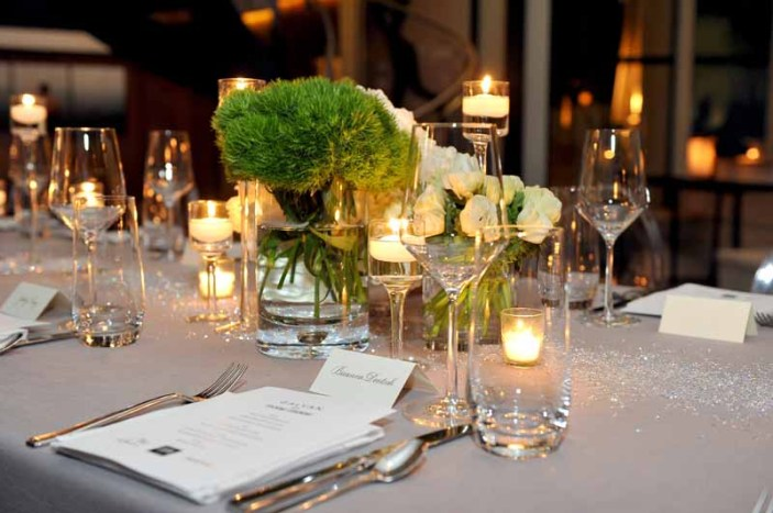 LOS ANGELES, CA - JANUARY 13: A view of the decorated table setting during the Galvan For Opening Ceremony Dinner Hosted By Swarovski at Private Residence on January 13, 2016 in Los Angeles, California. (Photo by Donato Sardella/Getty Images for Galvan)
